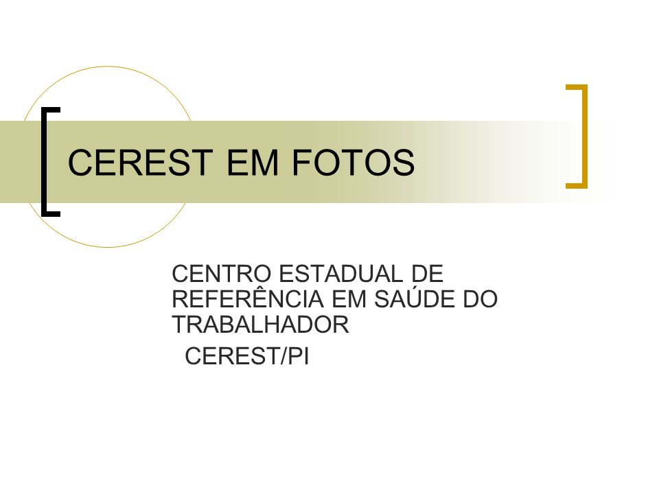 CENTRO ESTADUAL DE REFERÊNCIA EM SAÚDE DO TRABALHADOR CEREST/PI