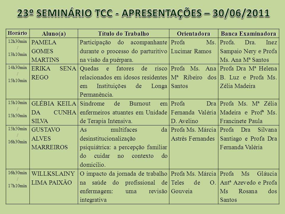 23º SEMINÁRIO TCC - APRESENTAÇÕES – 30/06/2011