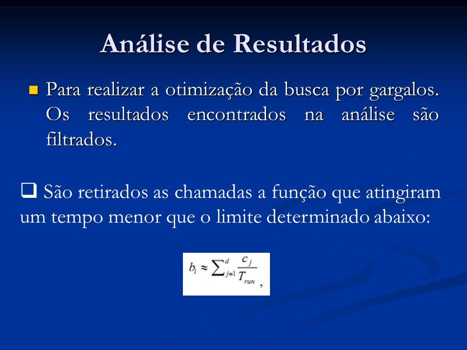 Análise de Resultados Para realizar a otimização da busca por gargalos. Os resultados encontrados na análise são filtrados.