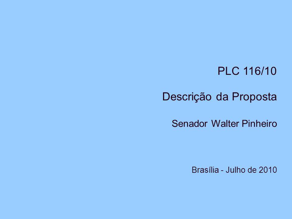 PLC 116/10 Descrição da Proposta Senador Walter Pinheiro