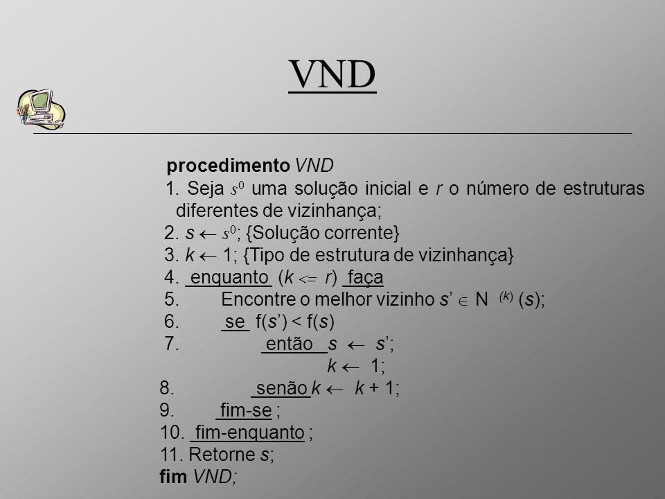 VNDprocedimento VND. 1. Seja s0 uma solução inicial e r o número de estruturas diferentes de vizinhança;