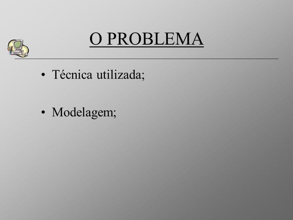 O PROBLEMA Técnica utilizada; Modelagem;