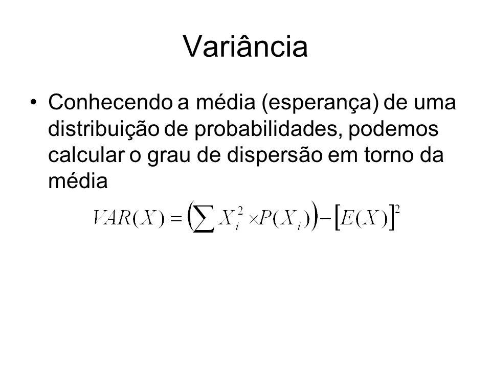 Variância Conhecendo a média (esperança) de uma distribuição de probabilidades, podemos calcular o grau de dispersão em torno da média.