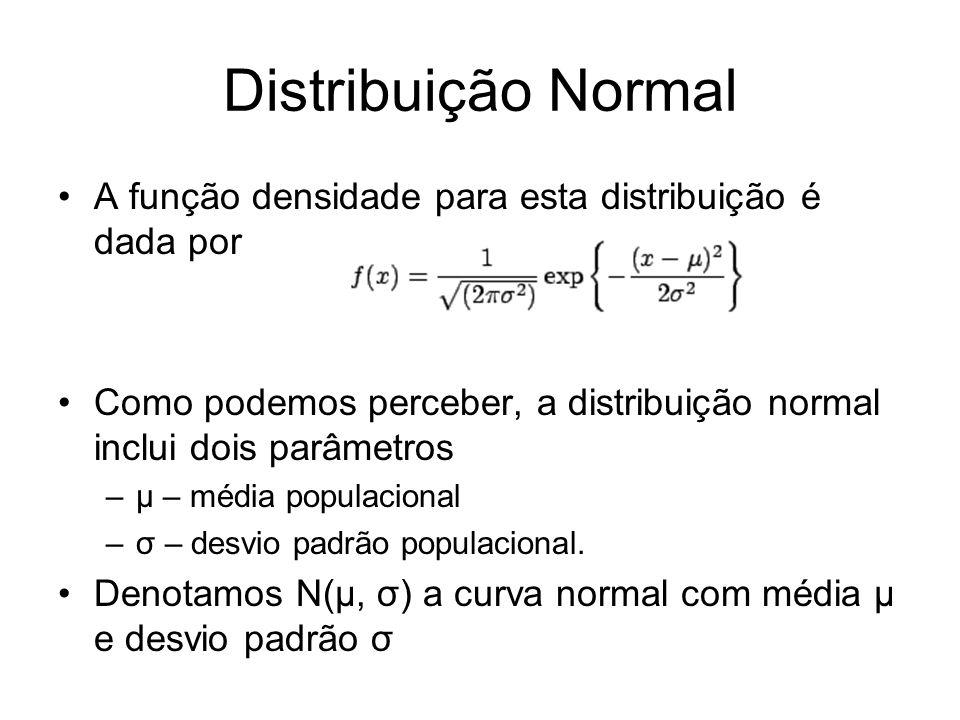 Distribuição Normal A função densidade para esta distribuição é dada por. Como podemos perceber, a distribuição normal inclui dois parâmetros.