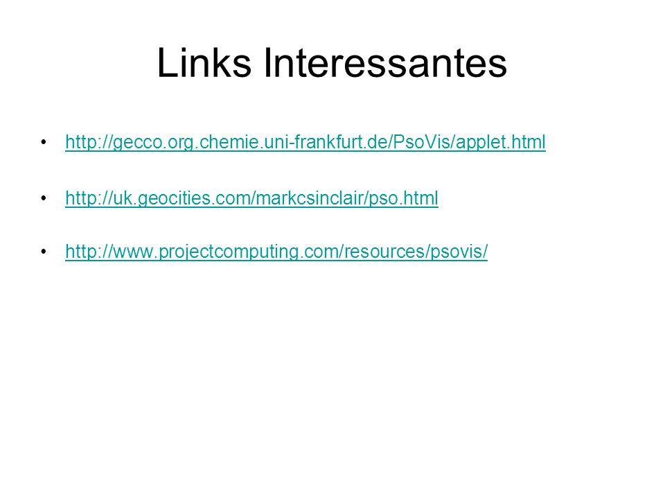 Links Interessantes http://gecco.org.chemie.uni-frankfurt.de/PsoVis/applet.html. http://uk.geocities.com/markcsinclair/pso.html.