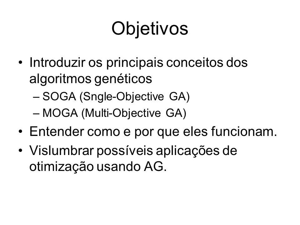 Objetivos Introduzir os principais conceitos dos algoritmos genéticos