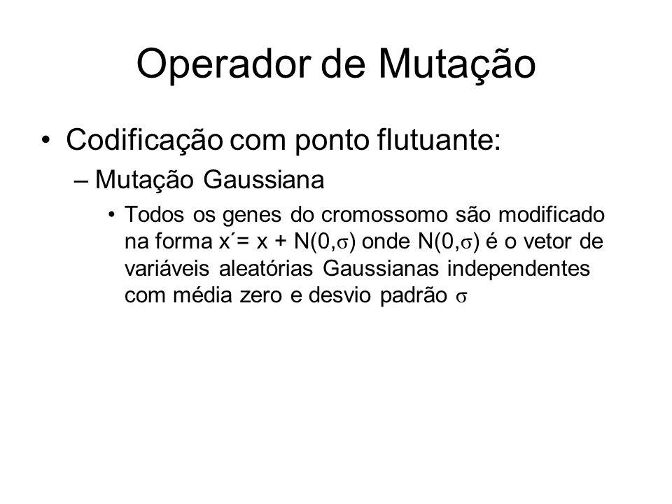 Operador de Mutação Codificação com ponto flutuante: Mutação Gaussiana