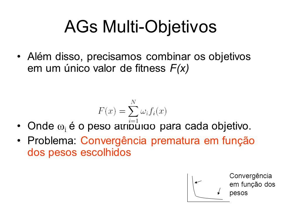 AGs Multi-Objetivos Além disso, precisamos combinar os objetivos em um único valor de fitness F(x) Onde ωi é o peso atribuído para cada objetivo.
