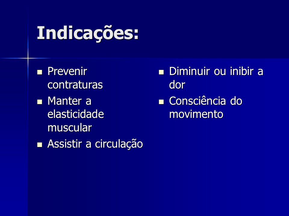Indicações: Prevenir contraturas Manter a elasticidade muscular