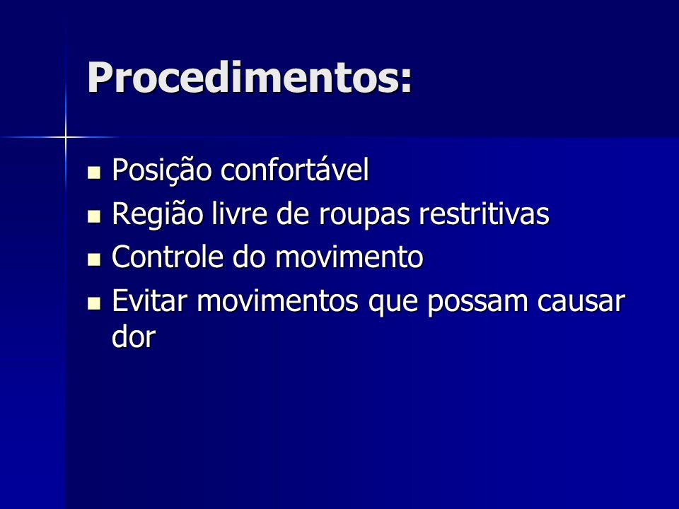 Procedimentos: Posição confortável Região livre de roupas restritivas