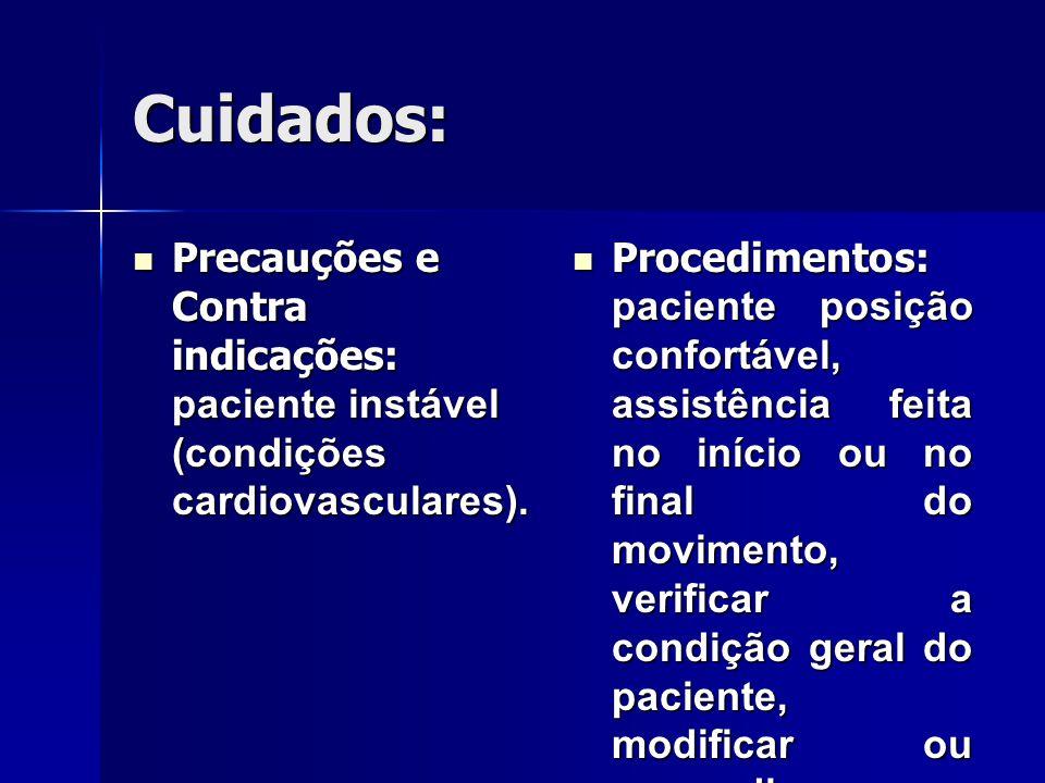 Cuidados: Precauções e Contra indicações: paciente instável (condições cardiovasculares).
