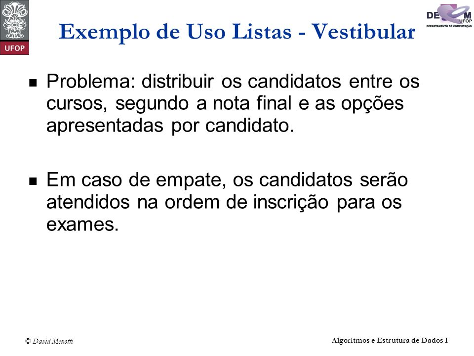 Exemplo de Uso Listas - Vestibular