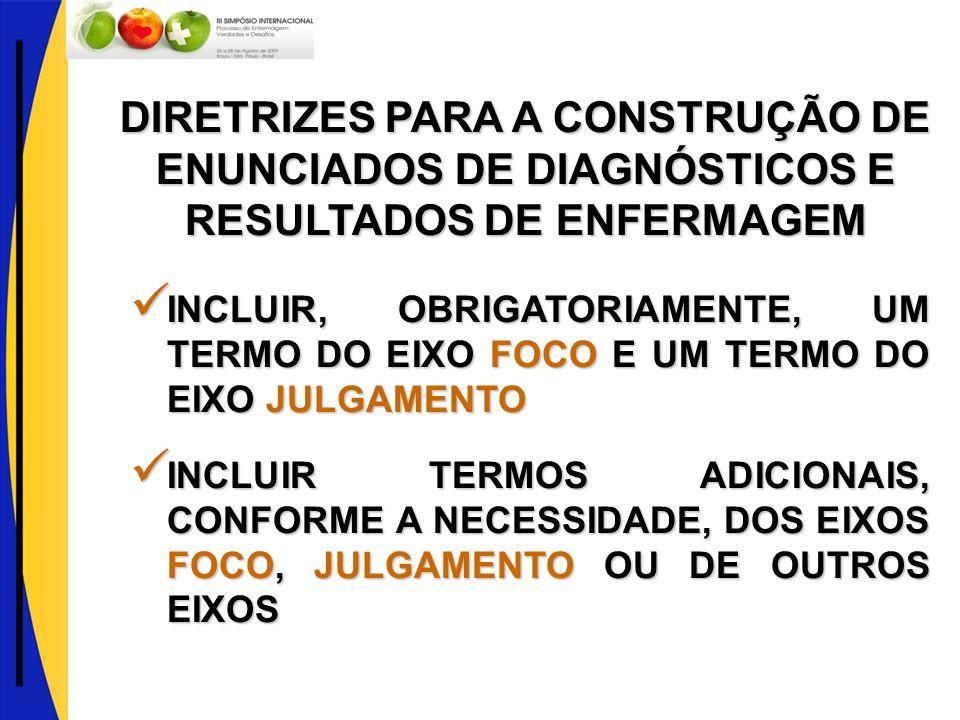 DIRETRIZES PARA A CONSTRUÇÃO DE ENUNCIADOS DE DIAGNÓSTICOS E RESULTADOS DE ENFERMAGEM