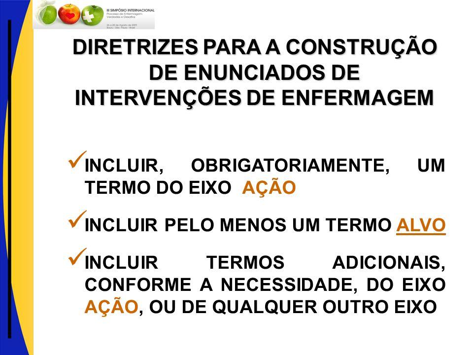 DIRETRIZES PARA A CONSTRUÇÃO DE ENUNCIADOS DE INTERVENÇÕES DE ENFERMAGEM