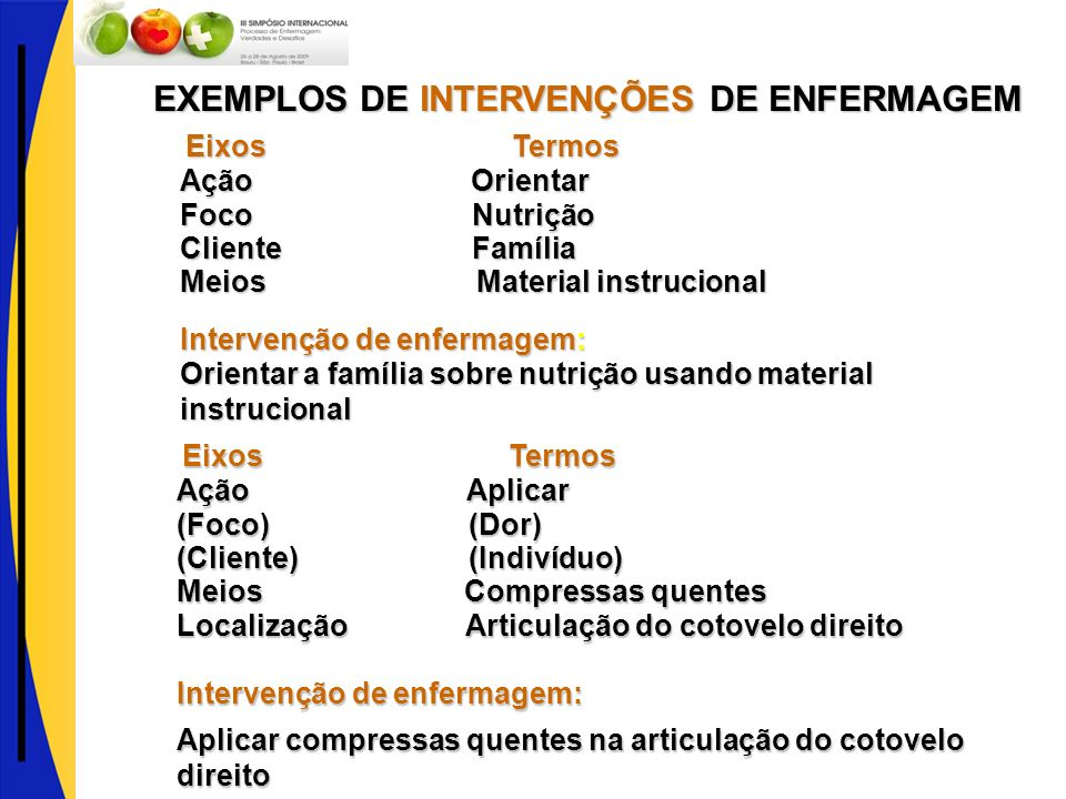 EXEMPLOS DE INTERVENÇÕES DE ENFERMAGEM