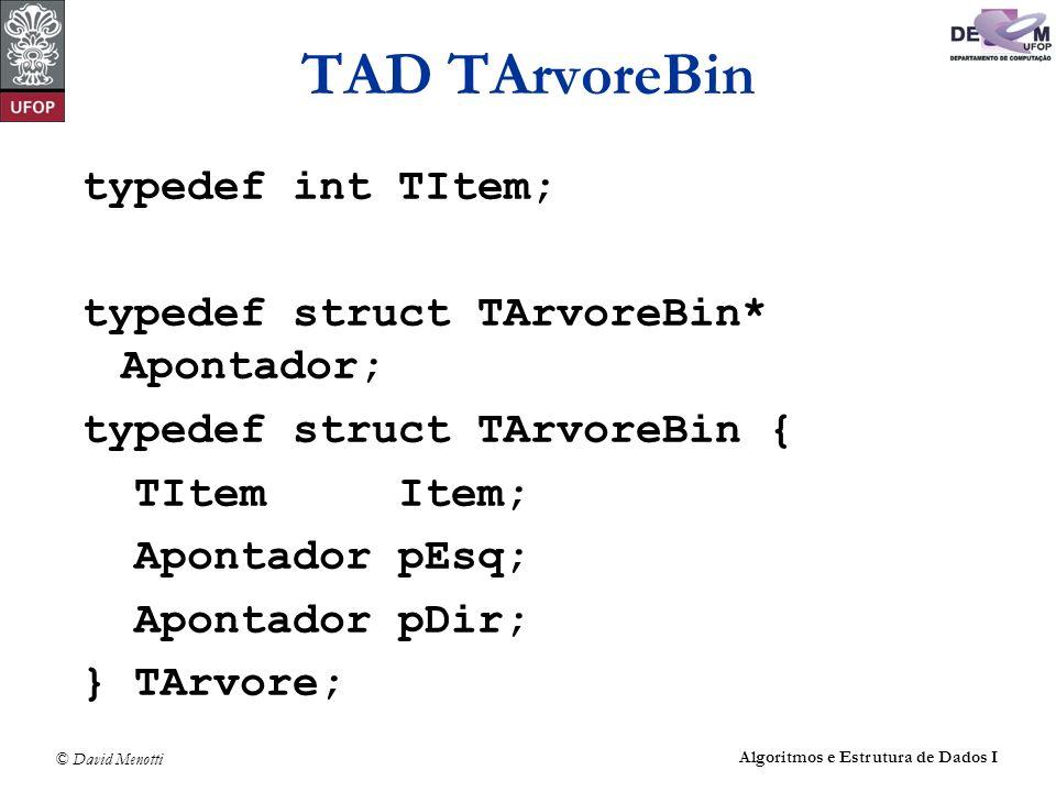 TAD TArvoreBin typedef int TItem;