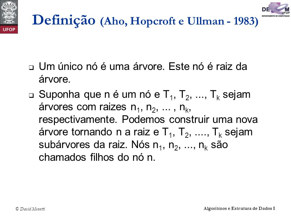 Definição (Aho, Hopcroft e Ullman - 1983)