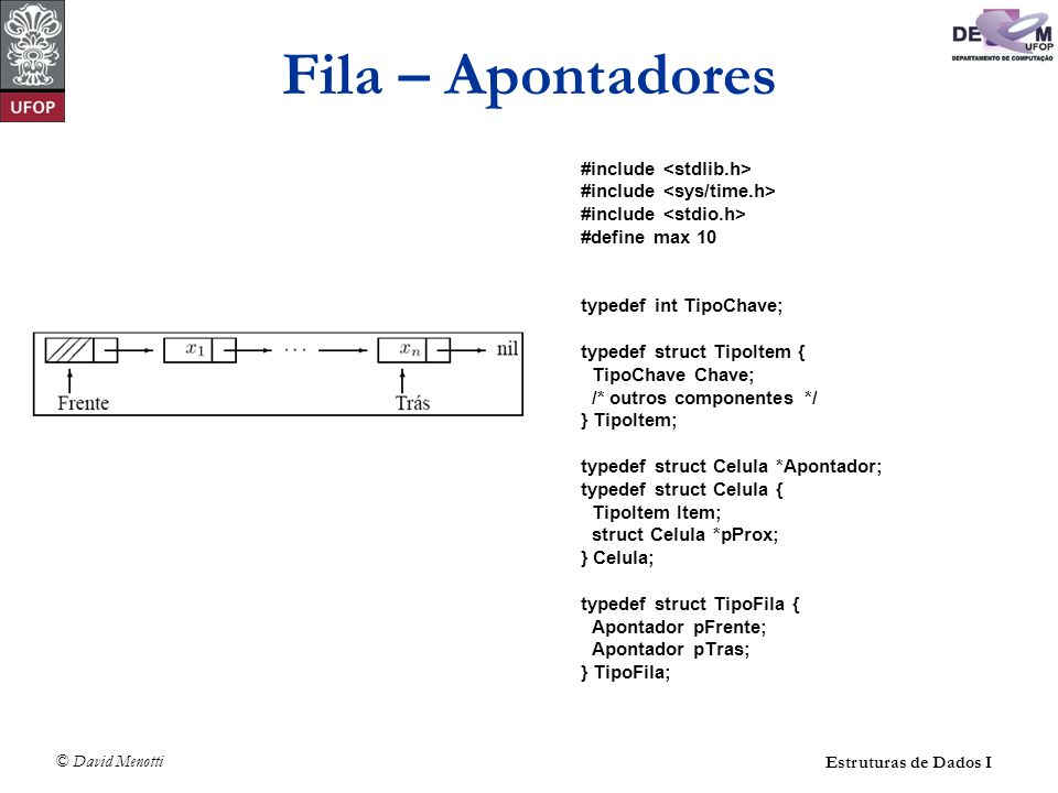 Fila – Apontadores #include <stdlib.h>