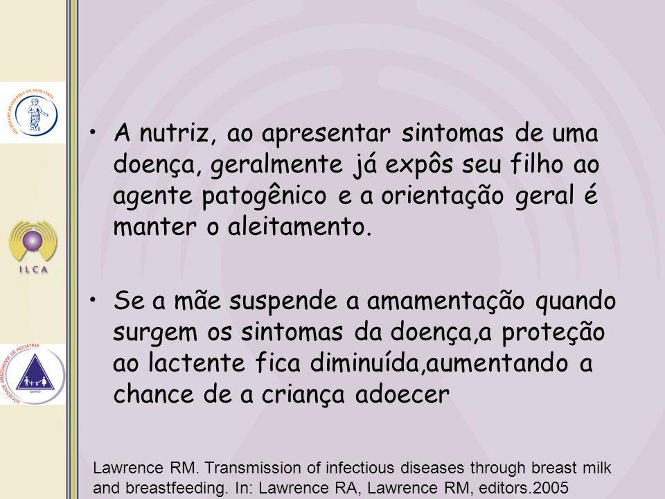 A nutriz, ao apresentar sintomas de uma doença, geralmente já expôs seu filho ao agente patogênico e a orientação geral é manter o aleitamento.