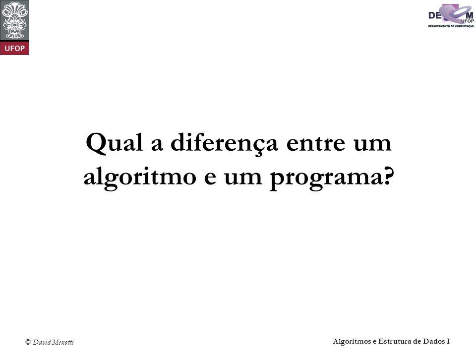 Qual a diferença entre um algoritmo e um programa