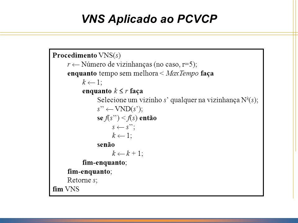 VNS Aplicado ao PCVCP Procedimento VNS(s)