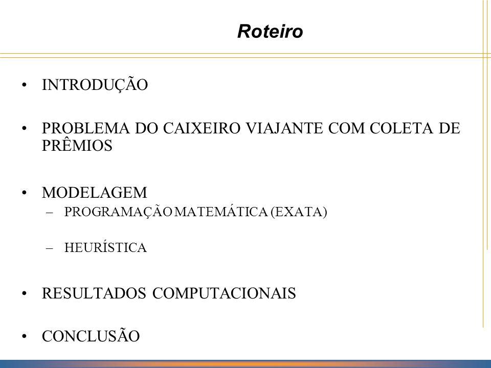 Roteiro INTRODUÇÃO PROBLEMA DO CAIXEIRO VIAJANTE COM COLETA DE PRÊMIOS