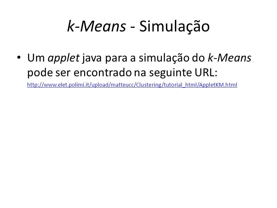 k-Means - Simulação Um applet java para a simulação do k-Means pode ser encontrado na seguinte URL: