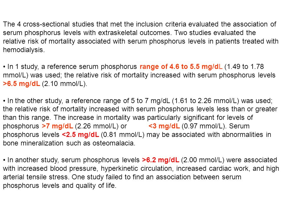 The 4 cross-sectional studies that met the inclusion criteria evaluated the association of serum phosphorus levels with extraskeletal outcomes. Two studies evaluated the relative risk of mortality associated with serum phosphorus levels in patients treated with hemodialysis.