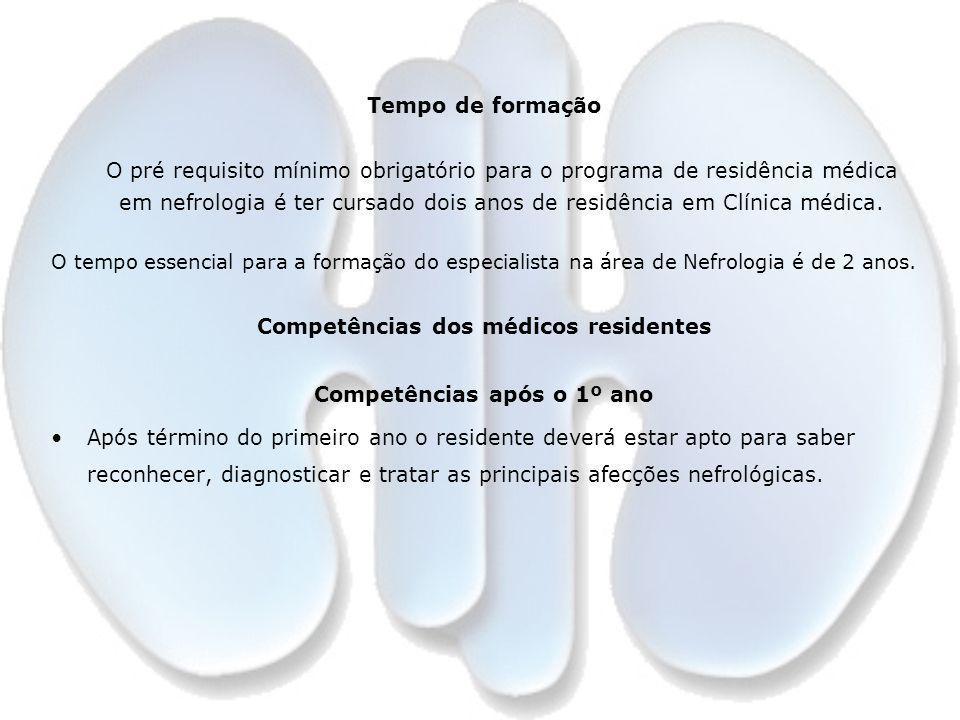 Competências dos médicos residentes Competências após o 1º ano