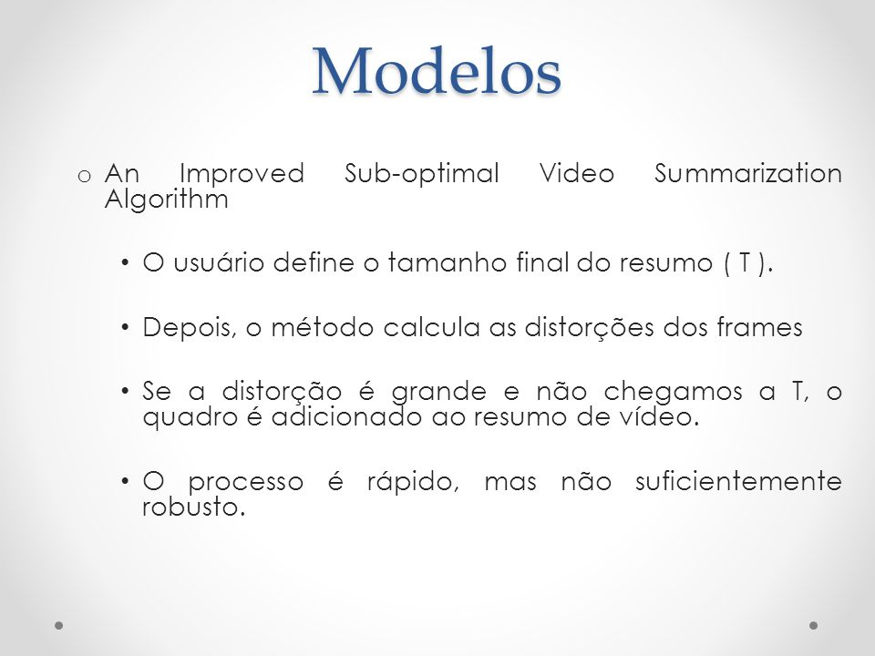 Modelos An Improved Sub-optimal Video Summarization Algorithm