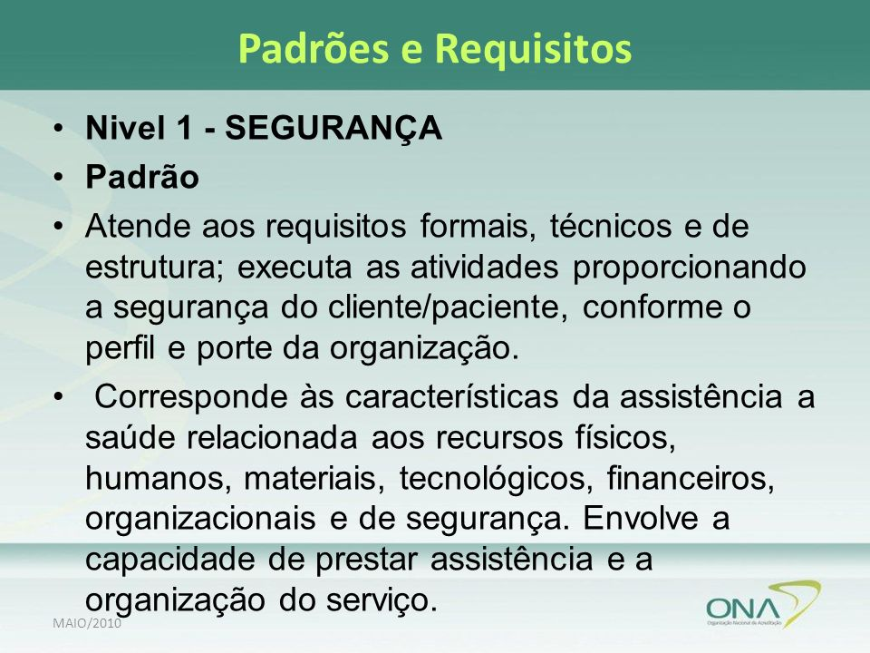 Padrões e Requisitos Nivel 1 - SEGURANÇA Padrão