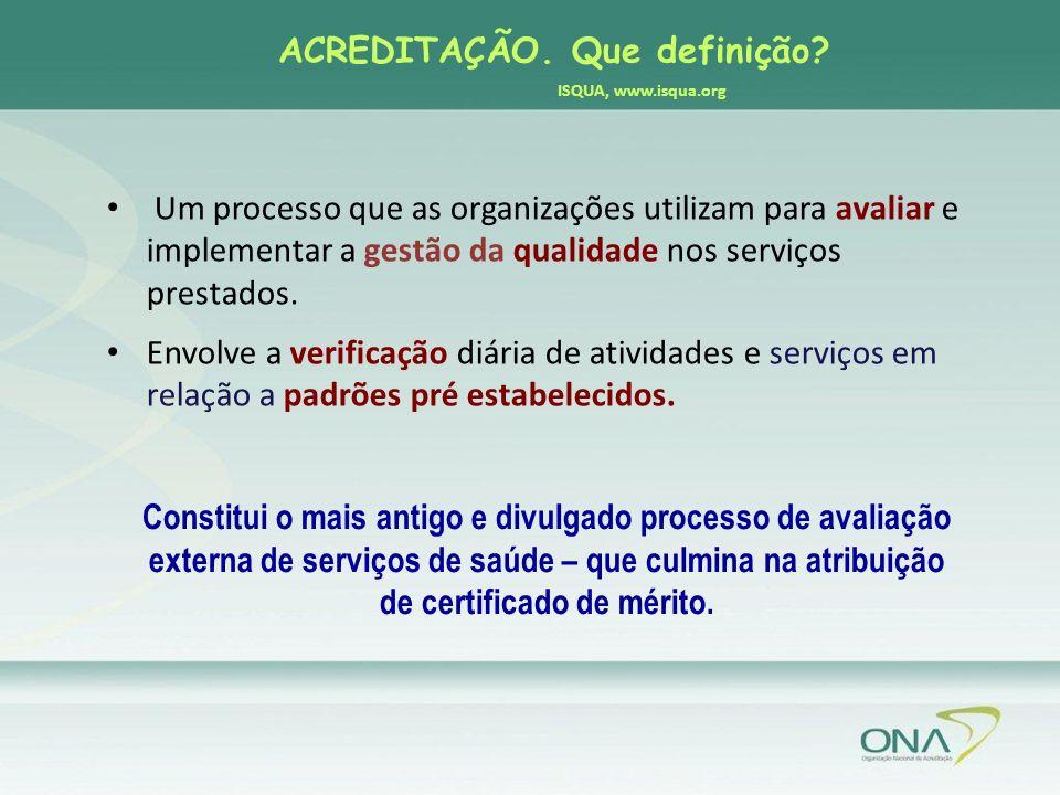 ACREDITAÇÃO. Que definição ISQUA, www.isqua.org