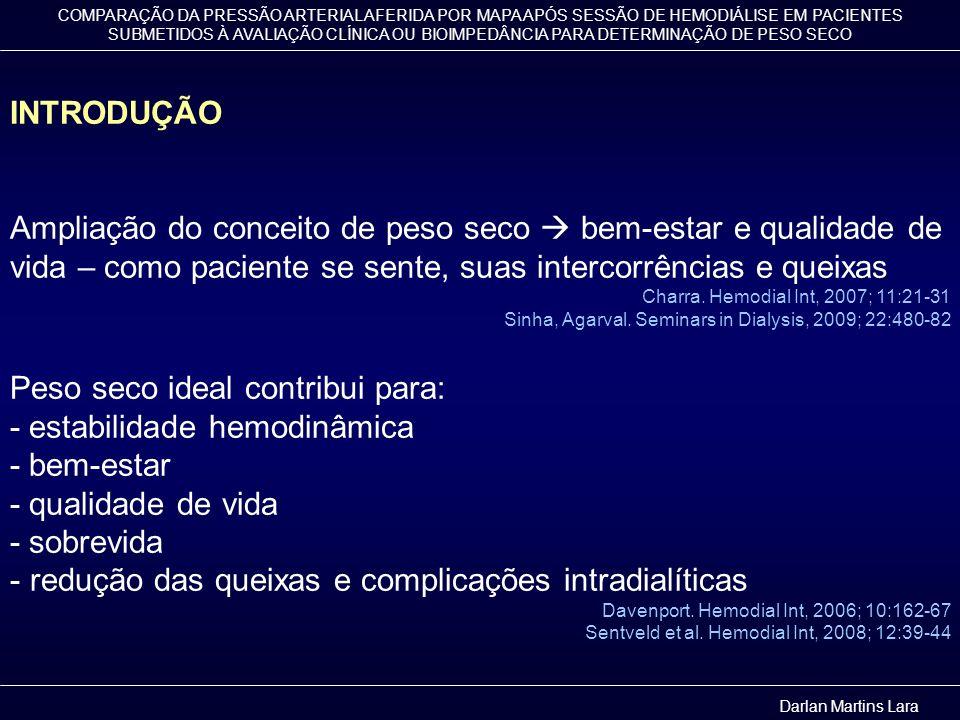Peso seco ideal contribui para: - estabilidade hemodinâmica
