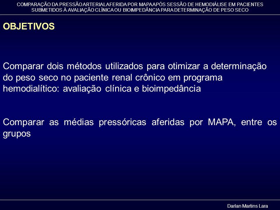 Comparar as médias pressóricas aferidas por MAPA, entre os grupos