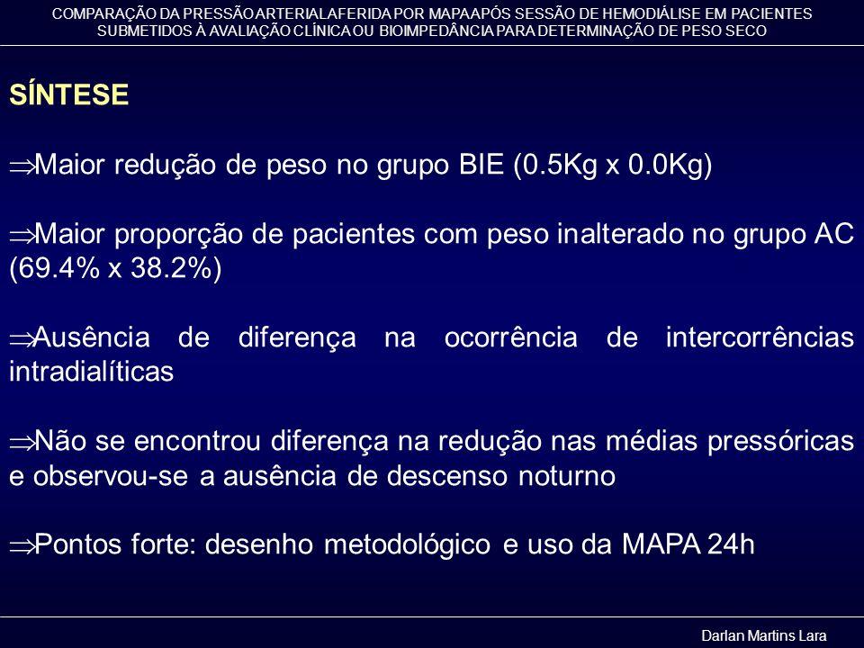 Maior redução de peso no grupo BIE (0.5Kg x 0.0Kg)