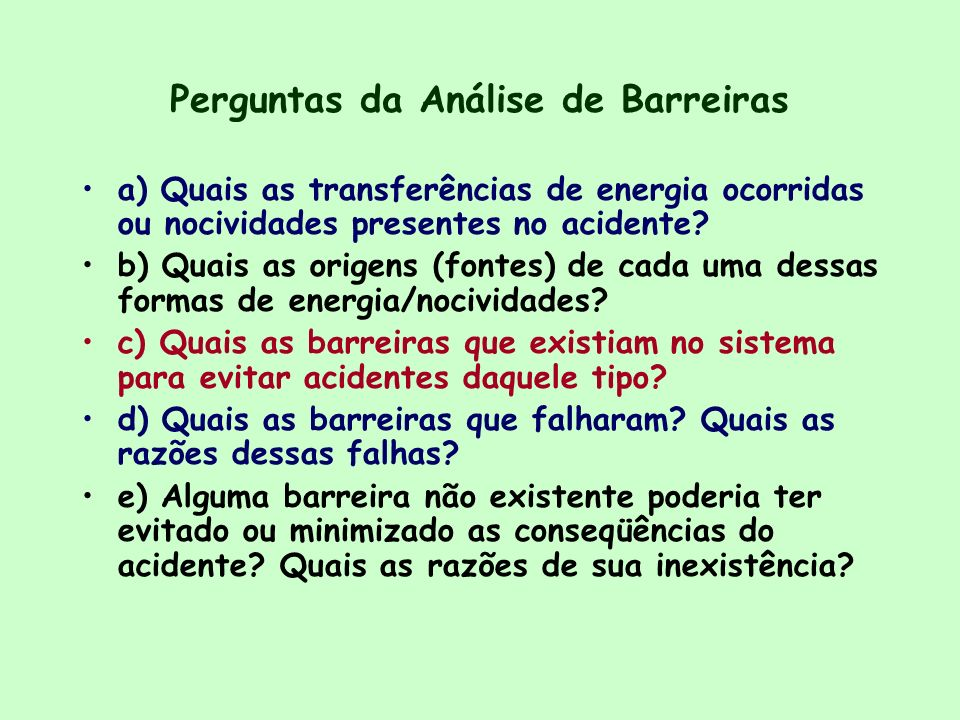 Perguntas da Análise de Barreiras