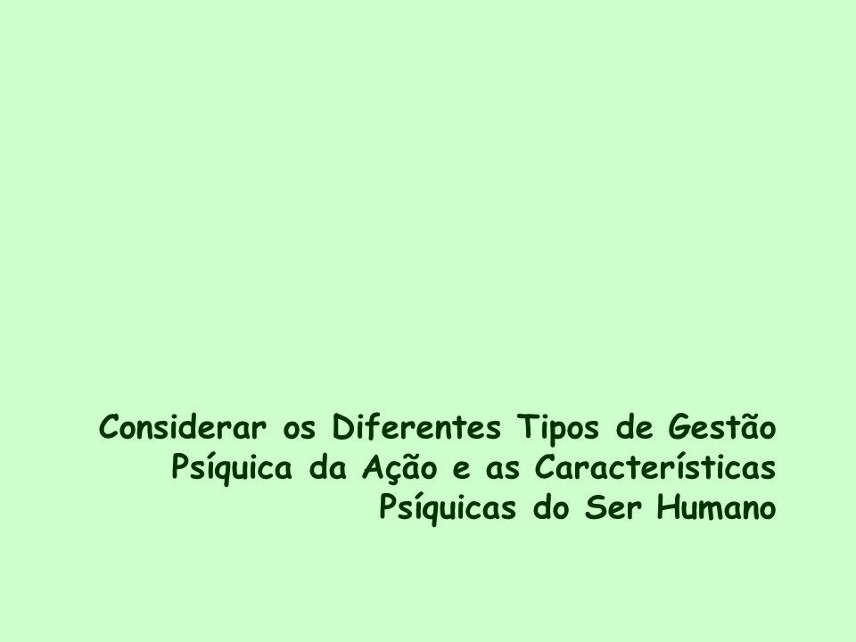Considerar os Diferentes Tipos de Gestão Psíquica da Ação e as Características Psíquicas do Ser Humano