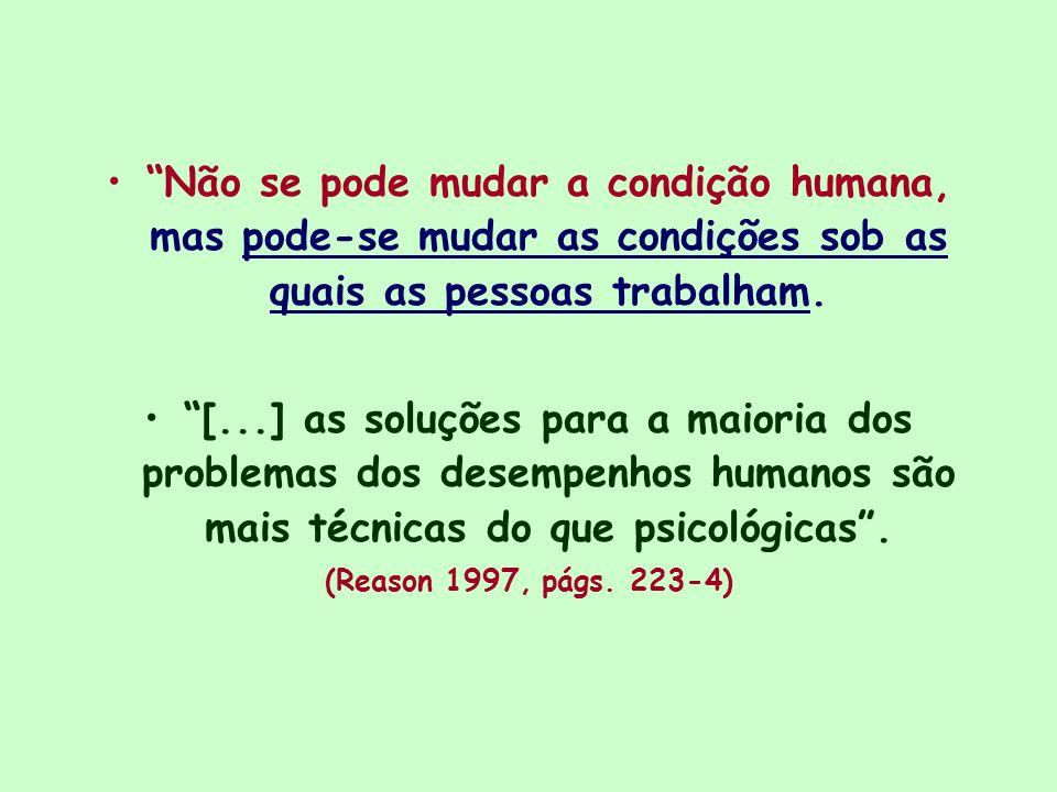 Não se pode mudar a condição humana, mas pode-se mudar as condições sob as quais as pessoas trabalham.