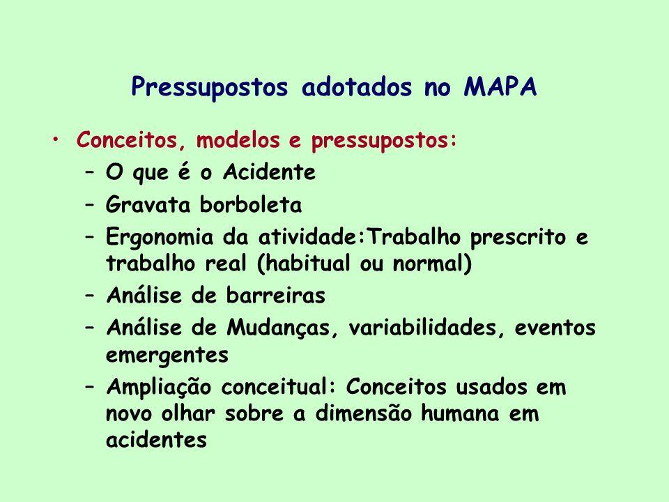 Pressupostos adotados no MAPA