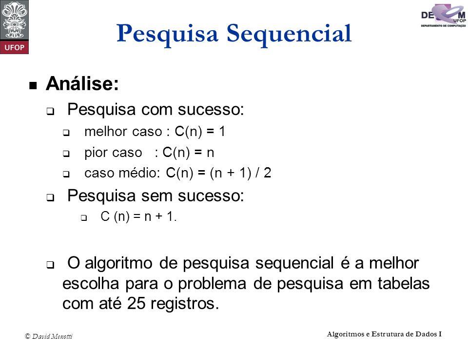 Pesquisa Sequencial Análise: Pesquisa com sucesso: