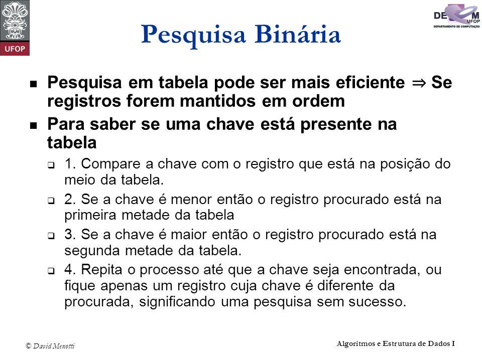 Pesquisa Binária Pesquisa em tabela pode ser mais eficiente ⇒ Se registros forem mantidos em ordem.