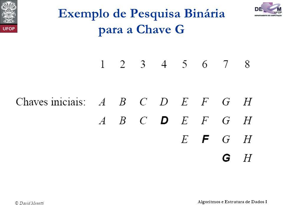 Exemplo de Pesquisa Binária para a Chave G