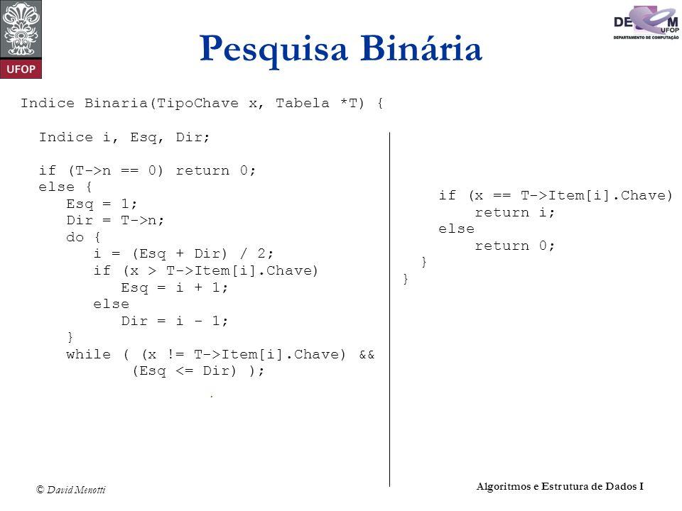 Pesquisa Binária Indice Binaria(TipoChave x, Tabela *T) {