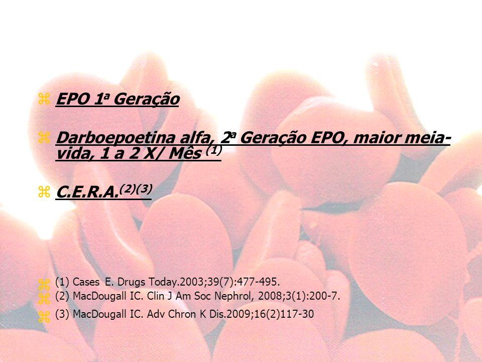 EPO 1a Geração Darboepoetina alfa, 2a Geração EPO, maior meia- vida, 1 a 2 X/ Mês (1) C.E.R.A.(2)(3)