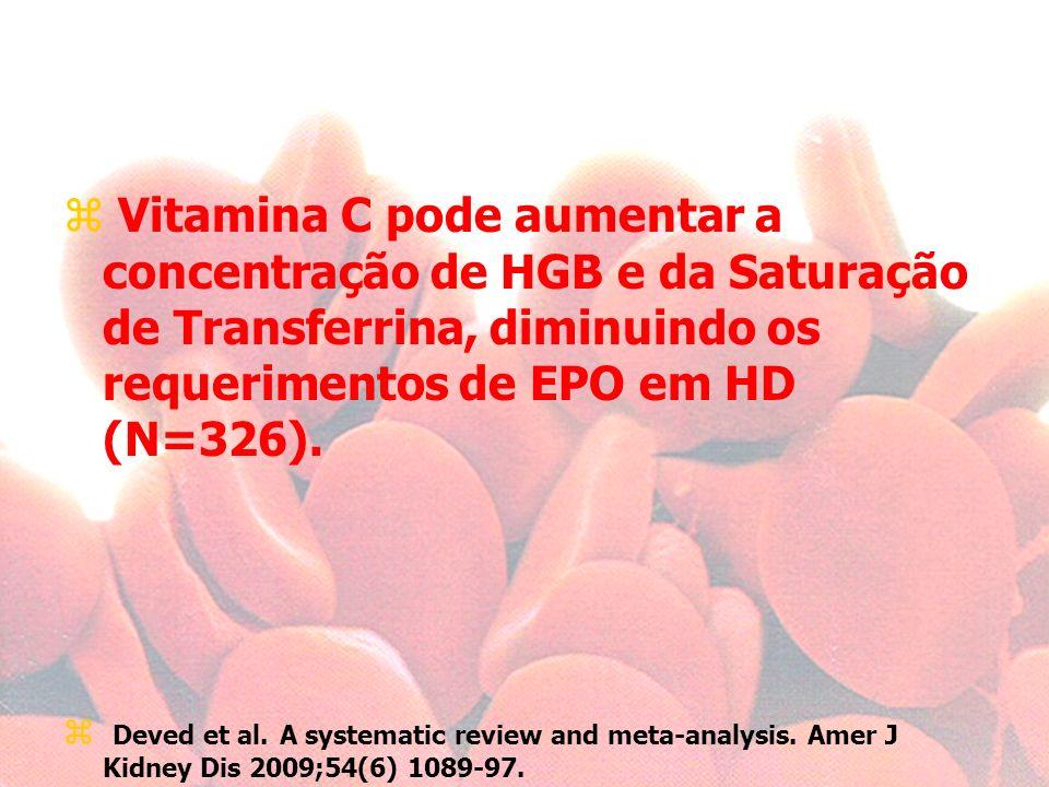 Vitamina C pode aumentar a concentração de HGB e da Saturação de Transferrina, diminuindo os requerimentos de EPO em HD (N=326).