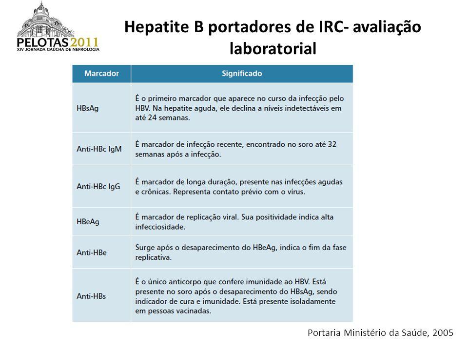 Hepatite B portadores de IRC- avaliação laboratorial