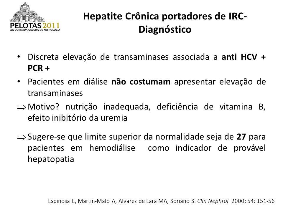 Hepatite Crônica portadores de IRC- Diagnóstico