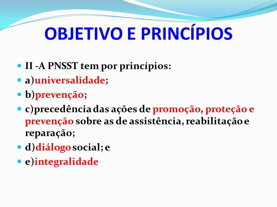 OBJETIVO E PRINCÍPIOS II -A PNSST tem por princípios: