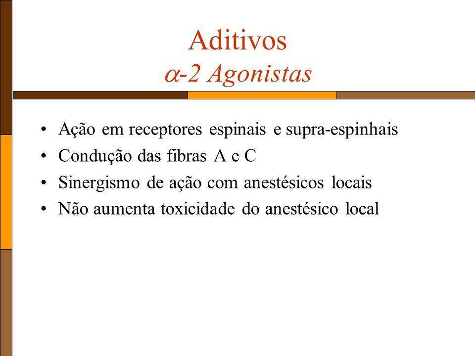 Aditivos -2 Agonistas Ação em receptores espinais e supra-espinhais