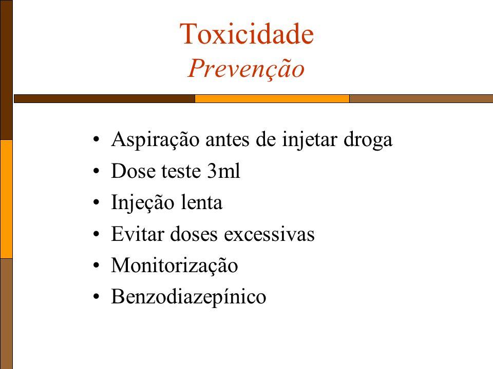 Toxicidade Prevenção Aspiração antes de injetar droga Dose teste 3ml